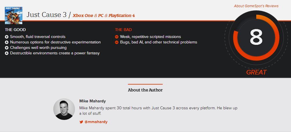 Just Cause 3 - Gamespot Score
