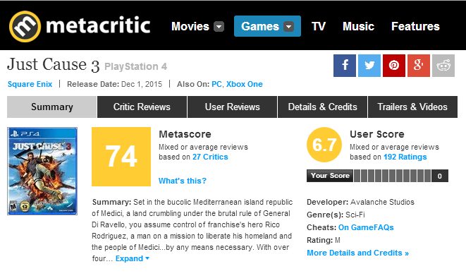 Just Cause 3 - Metacritic Score - PNG