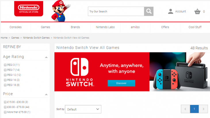 Nintendo UK Store Front