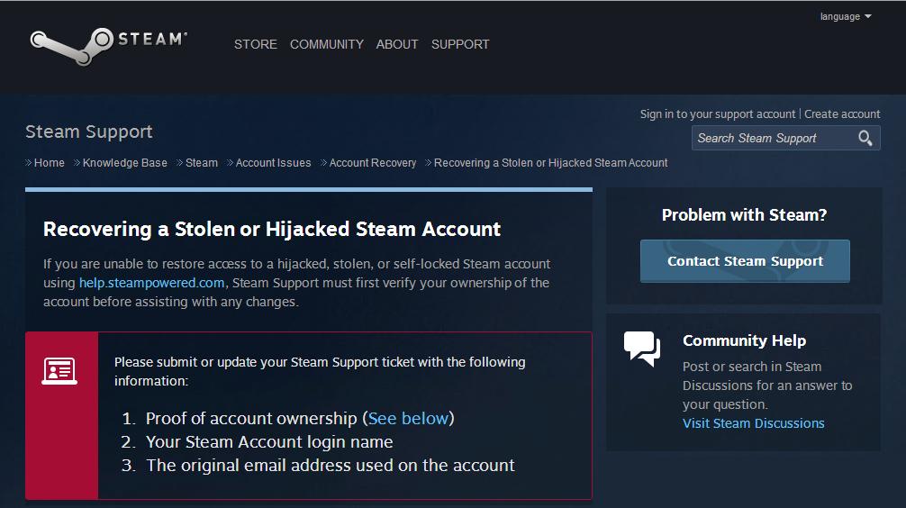 steam account stolen