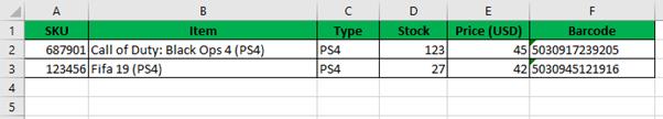 Stock List Sample Screenshot